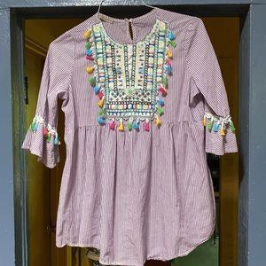 Embroidered Boho Tunic Blouse